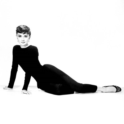 stock photo of audrey hepburn in a black top and black pants