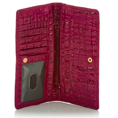 fuchsia croc-print wallet