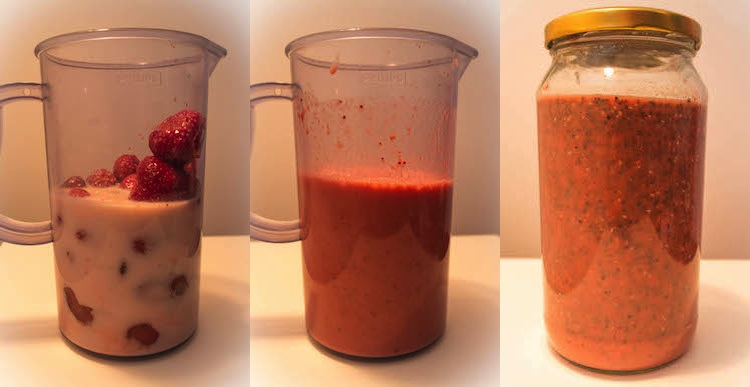3 steps to prepare a delicious strawberry & chia pudding :)