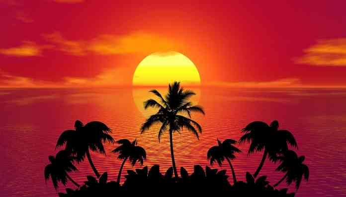 Coucher de soleil sur une île paradisiaque
