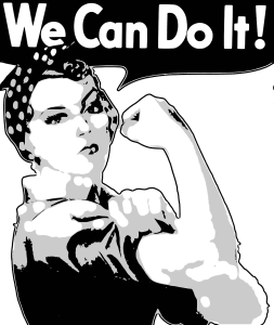 "Femme année 70 ""we can do it"""