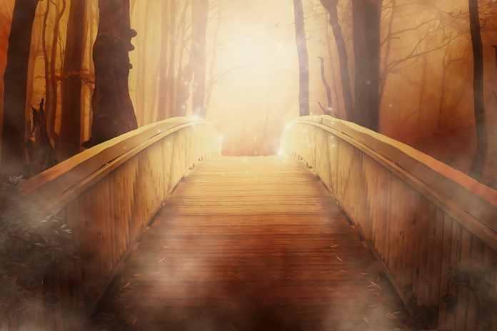 Dessin d'un pont qui va vers de la lumière