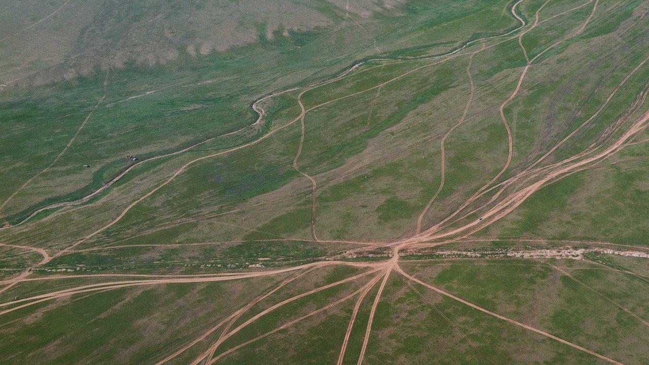 Vue aérienne de chemins