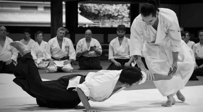 Léo Tamaki lors d'un cours d'Aïkido Kishinkai