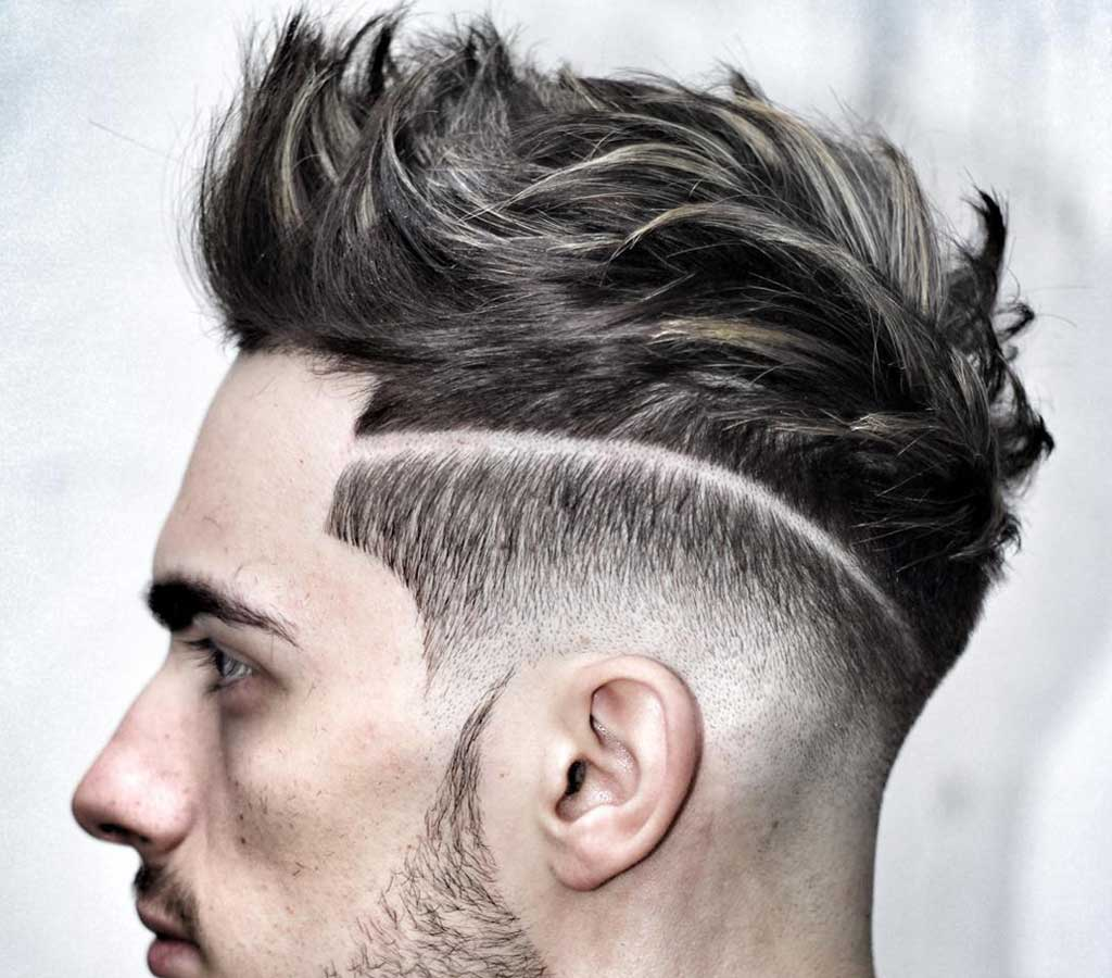 Mens hairstyle with row