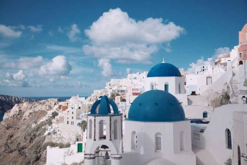 A classic view of Santorini