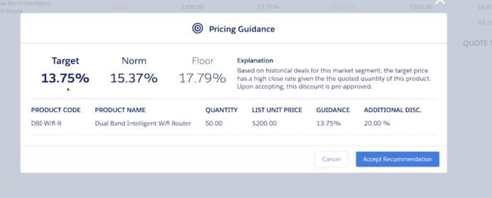 Salesforce Summer 19' Release Notes Einstein pricing guidance with target, norm, and floor.