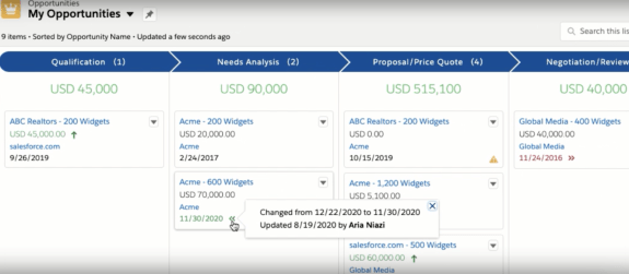 Salesforce Opportunity Deal Change Highlights