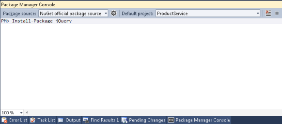 nuget install package