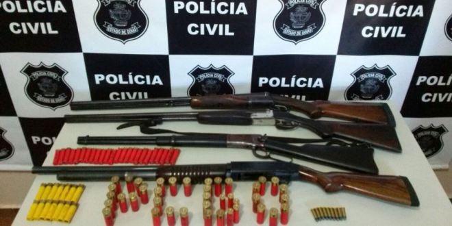 Armas de fogo são apreendidas em Cromínia pela Polícia Civil de Pontalina