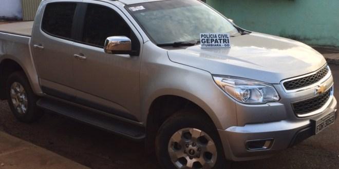 Itumbiara: Polícia civil recupera caminhonete roubada em Monte Carmelo-MG