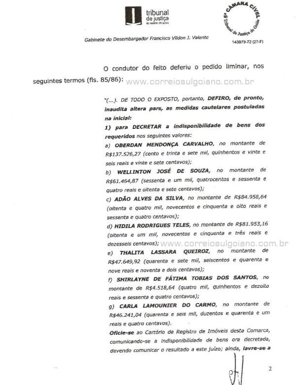 Página 02 do Relatório e Voto dos desembargadores do TJ/GO