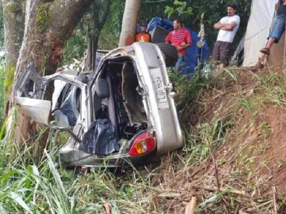 Carro ficou completamente destruído ao bater em árvore