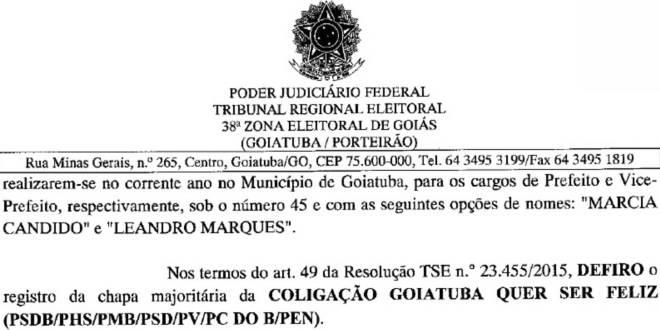 Justiça Eleitoral confirma candidatura de Márcia Cândido em Goiatuba! Não há nenhum empecilho…