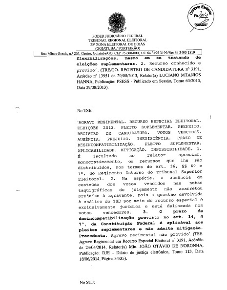 MÁRCIA PODE SER CANDIDATA: FOLHA Nº 304 DA DECISÃO JUDICIAL