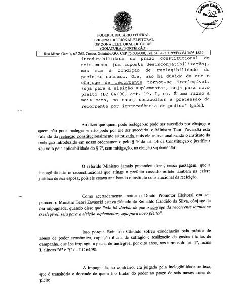 MÁRCIA PODE SER CANDIDATA: FOLHA Nº 307 DA DECISÃO JUDICIAL