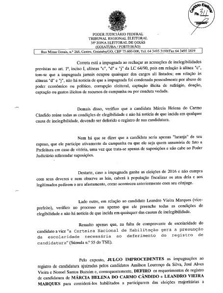 MÁRCIA PODE SER CANDIDATA: FOLHA Nº 311 DA DECISÃO JUDICIAL