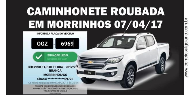 Ladrões roubam mais uma caminhonete em Morrinhos. Foi na noite de sexta-feira, dia 07 de abril…