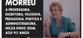 Faleceu Nilza Diniz Silva, um dos maiores ícones da educação e da cultura em Morrinhos