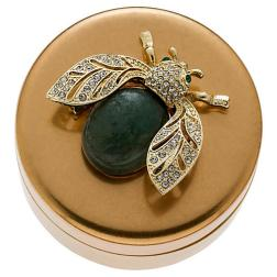 Winged Beetle Jewelry Box, Brass Labradorite