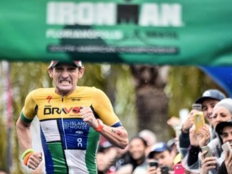 A chegada de Tim Don no Ironman Florianópolis, com novo recorde mundial no Ironman. Foto de Wagner Araújo