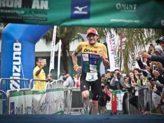 Tim Don vence o Ironman Florianópolis 2017 com o melhor tempo do mundo para a marca, com 7h40m23s, superando a anterior, de 7h44m29s. Foto de Fábio Falconi/Unlimited Sports/Divulgação