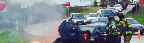 Tesla S prende fuoco