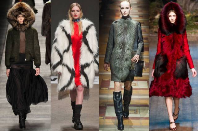 from simple fur lapels to fully lined hoods and whole fur coats