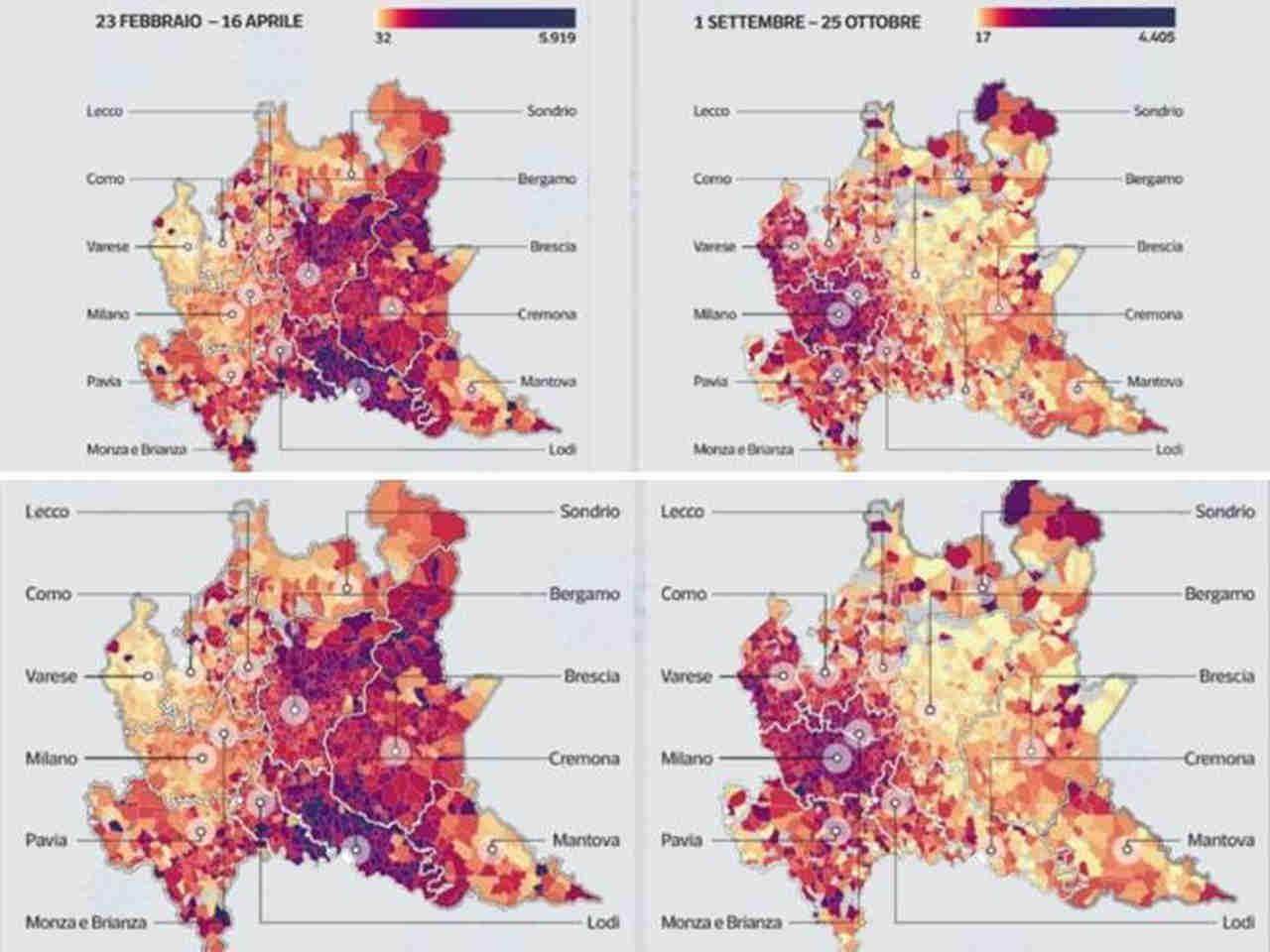 Il confronto delle due ondate di epidemia in Lombardia. A sinistra l'incidenza del virus in primavera, a destra la situazione recente