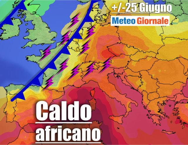 immagine 1 articolo meteo al 27 giugno caldo africano e super temporali
