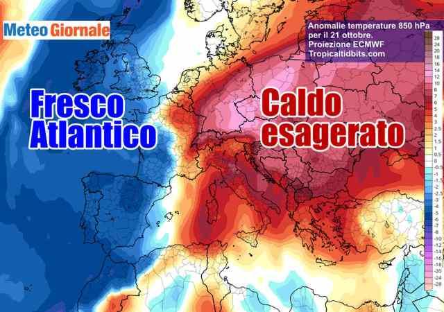 immagine 1 articolo meteo europa caldo anomalo ad est violento maltempo ad ovest
