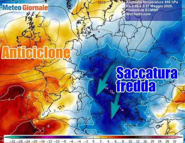 immagine 1 articolo italia tra anticiclone e saccatura temperature caleranno