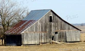 Barn with rusty tin roof in southeastern Nebraska