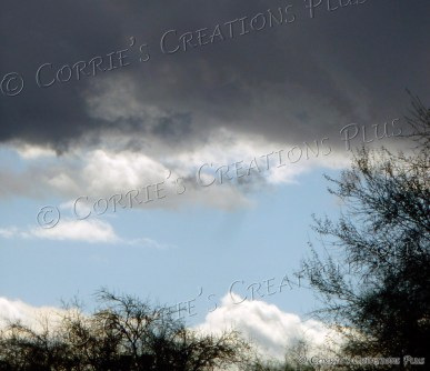 A break in the clouds on a snowy day in Tucson, Arizona