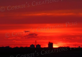 A brilliant red sunset in southeastern Nebraska