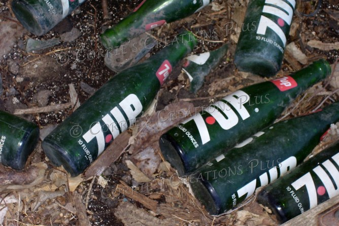 Remember when soda was purchased in a bottle? These 7-UP bottles had been tossed on the porch of an abandoned home in southeastern Nebraska.