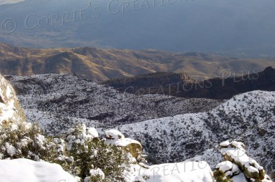 Notice the many depth layers in the snowy Catalina Mountains near Tucson.