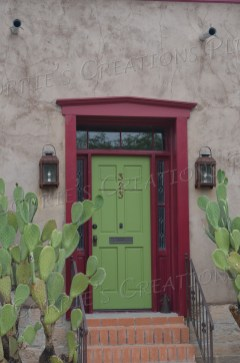 Red-and-green entryway in the El Presidio district in downtown Tucson