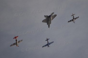 Heritage planes flying over Tucson, escorted by a fighter jet