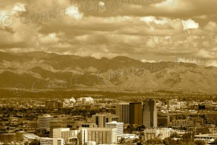The sepia version of the Tucson skyline