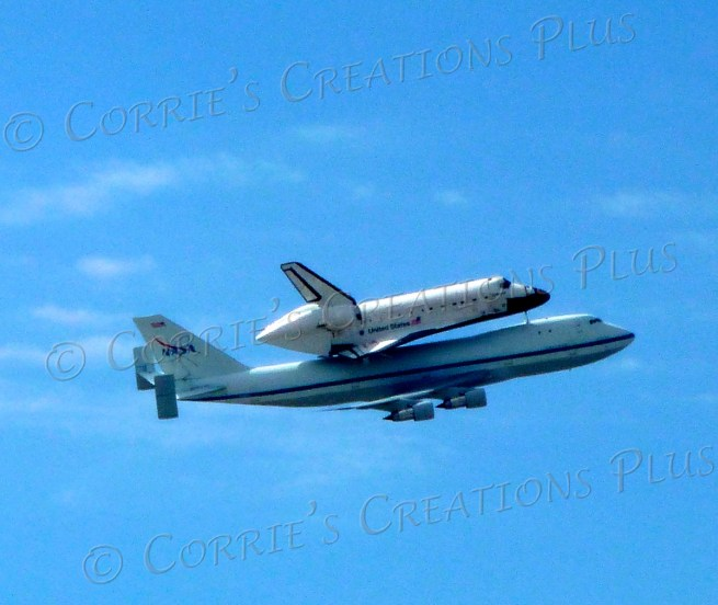"The space shuttle ""Endeavour"" on its last leg; taken in Tucson"