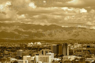 A sepia version of Tucson's skyline; taken from Sentinel Peak