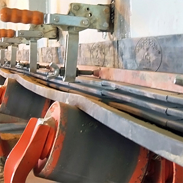 View of a Corrosion Engineering SURESEAL conveyor dust seal in use. These are used to contain dust and fines from escaping conveyor belts in the mining industry.