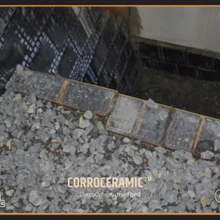CorroCube Dead Bedding material inside Chute