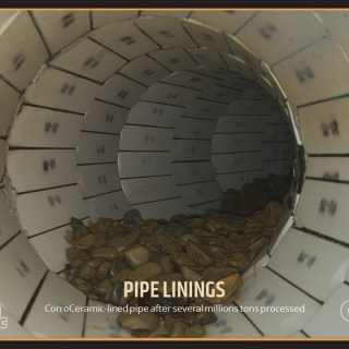 CorroCeramic-lined pipe after several millions tons processed