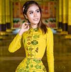 Su Moh Moh Naing in Yellow dress