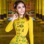 Su Moh Moh Naing in Yellow dress