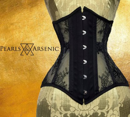 Pearls Arsenic Raven Tao black mesh lace underbust Ophelia