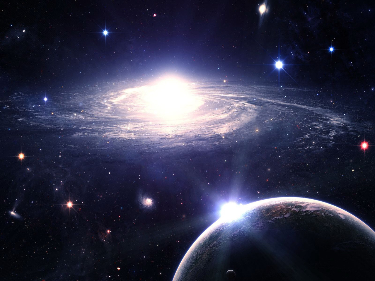 Background galaxy, foreground a planet