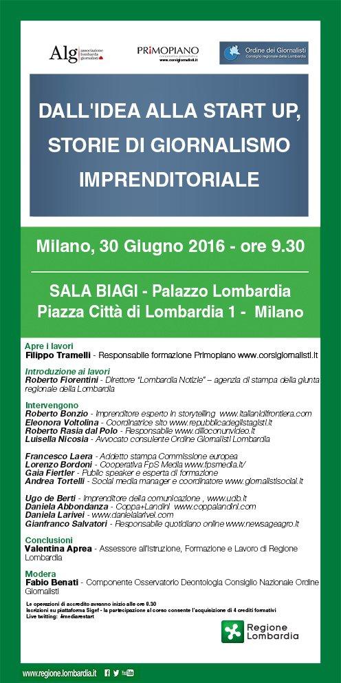 locandina evento 30 Giugno 2016 GIORNALISTI